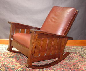 Gustav Stickley Inspired Medium Size  Slant Arm Reclining Morris Rocker With Slats